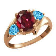 2.16 Ct Oval Ruby Mystic Topaz and Topaz Gold Plated 925 Silver Ring