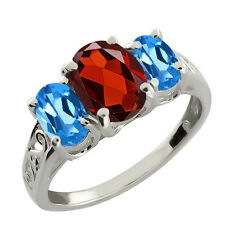 2.50 Ct Checkerboard Red Garnet and London Blue Topaz 14k White Gold Ring