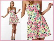 $188 Lilly Pulitzer Felicity Doodle Bug Daisy Floral Strapless Dress