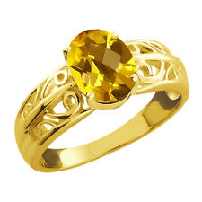 1.25 Ct Checkerboard Citrine Gold Plated 925 Silver Ring