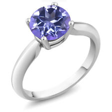 2.40 Ct Round Tanzanite Blue Mystic Topaz Sterling Silver Ring
