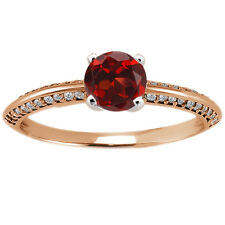 0.94 Ct Round Red Garnet Diamond 925 Rose Gold Plated Silver Ring