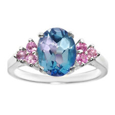 3.00 Ct Mystic Topaz Pink Sapphire 14K White Gold Ring