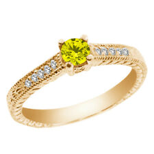 0.37 Ct Round Canary Diamond White Topaz 925 Yellow Gold Plated Silver Ring