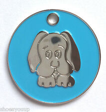 Personalised DOG PUPPY FACE Light Blue Enamel Identity ID Pet Tag Engraved