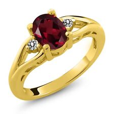 1.46 Ct Oval Rhodolite Garnet and Diamond Gold Plated 925 Silver Ring