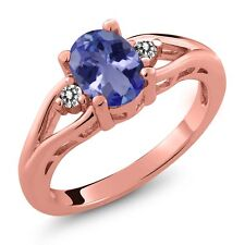 1.22 Ct Oval Tanzanite and Diamond Gold Plated 925 Silver Ring
