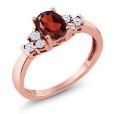 0.79 Ct Oval Red Garnet White Topaz 925 Rose Gold Plated Silver Ring