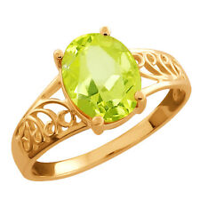 1.65 Ct Oval Lemon Quartz Gold Plated 925 Silver Ring