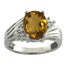 1.72 Ct Oval Whiskey Quartz White Topaz 925 Sterling Silver Ring