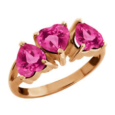 2.70 Ct Heart Shape Pink Mystic Topaz Gold Plated 925 Silver 3-Stone Ring