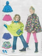PATTERN Girls XS-S or M-XL PONCHO & Arm Warmers w/wo hood m6196 childrens sewing