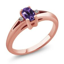 0.49 Ct Purple Oval Amethyst and White Diamond Rose Gold Plated Silver Ring