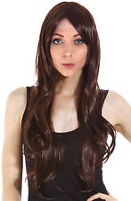 Women Long Wave Curl Side Fringe Bang Hairpiece Wig - Dark Brown Cyber Monday