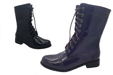 Ladies Boots No Shoes Woodstock Military style Black Or Purple Patent Boot 5-10