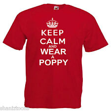 Remembrance Day Poppy Mens T Shirt 12 Colours Size S - 3XL