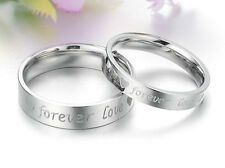 "R023 ""Forever love"" Titanium Steel Promise Ring Couple Wedding Bands LOVER GIFT"
