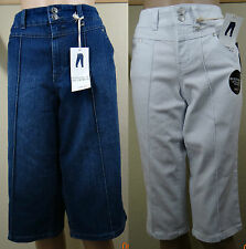 NWT STYLE & CO white or blue bottoms up skimmer denim/jean capri pants,size 4,18