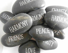 Engraved River Rock Word Stone Sold Individually - Black with Silver Ink