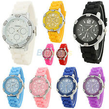 WOMENS GIRLS JELLY WRIST WATCH DIAL HOT FASHION GENEVA CRYSTAL SILICONE QUARTZ