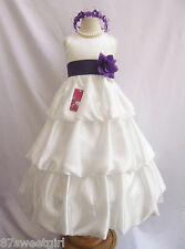 Ivory purple lapis quinceanera pageant flower girl dress size 2 3 4 5 6 8 10