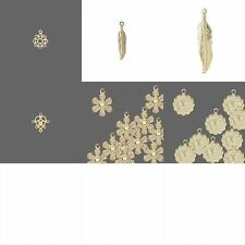 20 Bright Gold Bead Drop Charms Flower Feather Love Filigree Heart Small Dangles