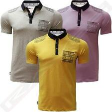 Mens Polo Shirt D Code Aztec Print Details T-Shirt Short Sleeved Top 1X2261
