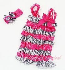 Newborn Baby Girls Hot Pink Zebra Lace Petti Rompers Straps Bow Headband 3pc
