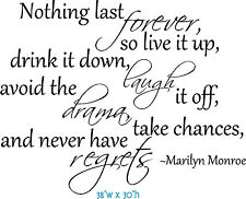 MARILYN MONROE QUOTE NOTHING LAST FOREVER Wall Decal Sticker LARGE