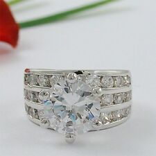 STUNNING 5 CT ROUND/BAGUETTES CZ CUBIC ZIRCONIA RING SIZE 5 6 7 8 9 10