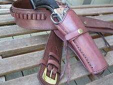 "Gun Belt w Smooth Holster Combo- .38 Caliber- Brown - Leather - Sizes 32"" to 52"""
