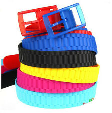 """New Rubber Vinyl Plastic Jelly Silicone Suit Casual Belt Buckle Adjustable  46"""""""