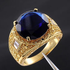 Size 9,10,11,12,13 Valuable Mens Blue Sapphire 18K Yellow Gold Filled Gem Ring
