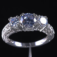 Size 6-10 Jewelry Lady's Three-stone White Sapphire 10KT White Gold Filled Ring