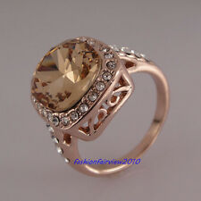 18K Rose Gold GP Clear Crystal Champagne Stone Engagement Wedding Ring IR062B