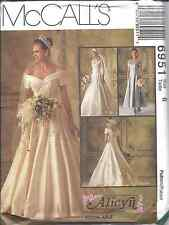 6951 UNCUT Vintage McCalls SEWING Pattern Wedding Dress Bridal Gown Alicyn OOP