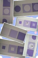 HAND PAINTED MODERN ART CANVAS'S SHADES OF LILAC 20CM/30CM PLAIN,SQUARES,CIRCLES
