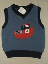 Gymboree GO NAUTICAL Blue Boat Tugboat Sweater Vest Striped in Back NWT 2 4 5