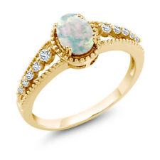 0.79 Ct Oval Cabouchon White Opal White Topaz 14K Yellow Gold Ring