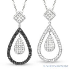 Tear-Drop Charm Micro-Pave CZ Crystal Pendant 925 Sterling Silver Chain Necklace