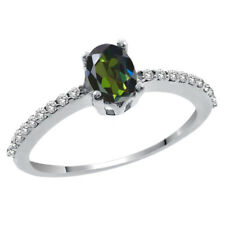 1.25 Ct Oval Forest Green Mystic Topaz and White Topaz 14K White Gold Ring
