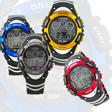Fashion Boys Kids Digital Multicolor Backlight Alarm Waterproof Wrist Watch