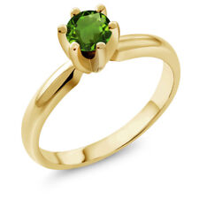 0.50 Ct Round Green Chrome Diopside 925 Yellow Gold Plated Silver Ring