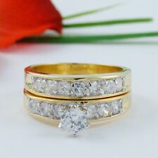 2 CT ROUND YELLOW GOLD EP WEDDING ENGAGEMENT RING SET SIZE 4 5 6 7 8 9 10 11