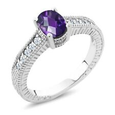 1.15 Ct Oval Checkerboard Purple Amethyst White Topaz 925 Sterling Silver Ring
