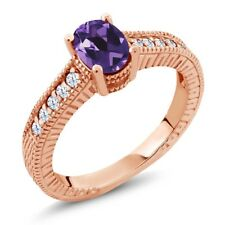 1.15 Ct Oval Purple Amethyst White Topaz 18K Rose Gold Plated Silver Ring