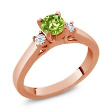 0.76 Ct Round Green Peridot White Topaz 925 Rose Gold Plated Silver Ring