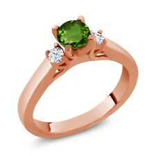 0.66 Ct Green Chrome Diopside White Topaz 925 Rose Gold Plated Silver Ring