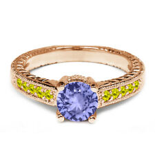 1.07 Ct Round Blue Tanzanite Canary Diamond 14K Rose Gold Engagement Ring