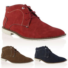 MENS FAUX SUEDE CASUAL FLAT LACE UP HI TOP ANKLE DESERT BOOTS SHOES SIZE 6-12
